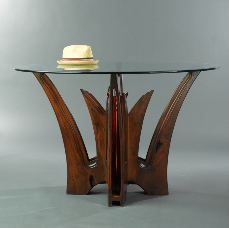 Aloe Dining Table alder wood with 48 inch glass top by paul rene furniture and cabinetry phoenix scottsdale az