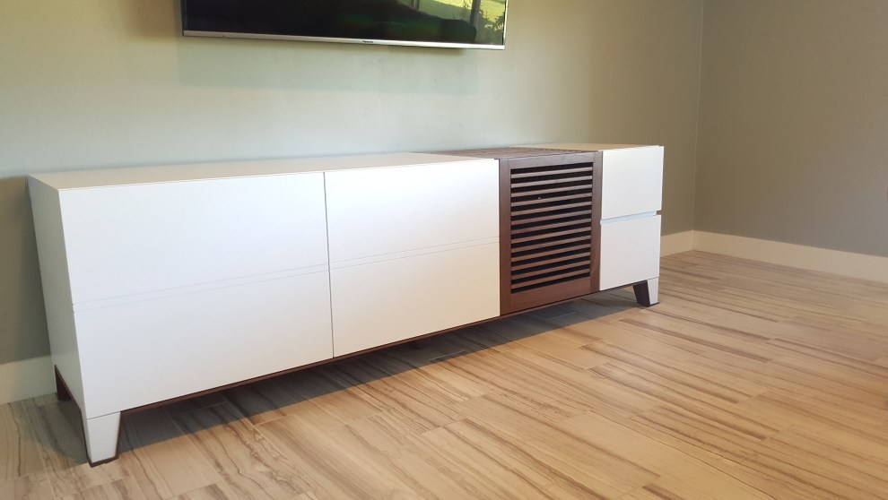 white painted tv console paul rene furniture and cabinets phoenix-scottsdale az
