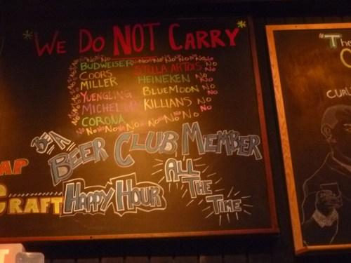 We don't sell Bud, Coors, Miller, Yuengling, Mich, Corona, Stella, Blue Moon, Heineken, Killian's