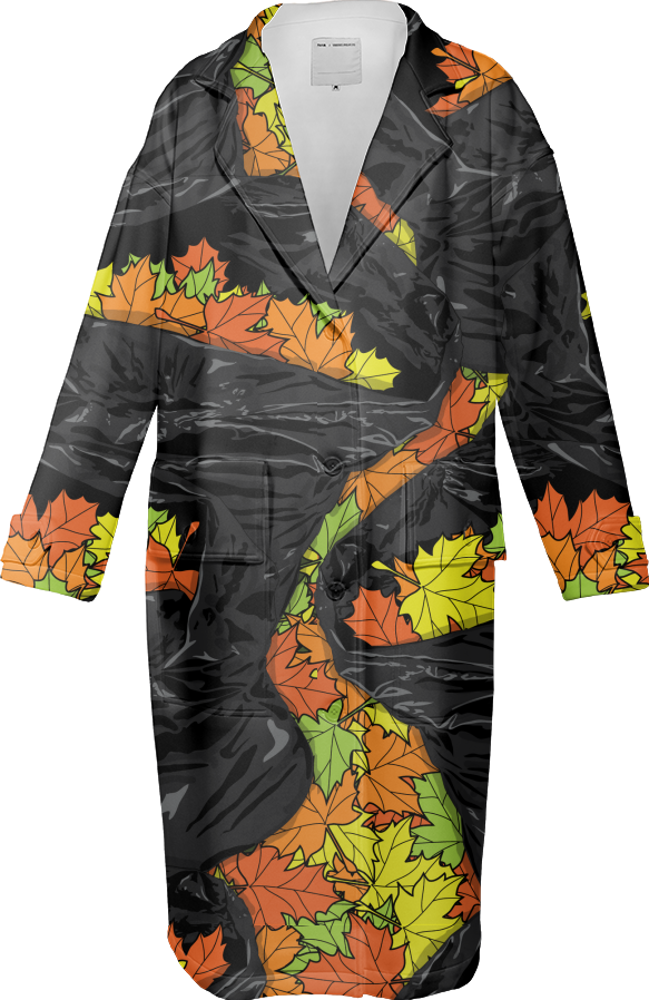 Paul S OConnor Leaf Litter Pattern Autumn Trench Coat Textile Pattern