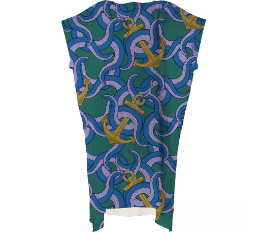 Paul S OConnor Sea Life Textile Pattern Square Dress