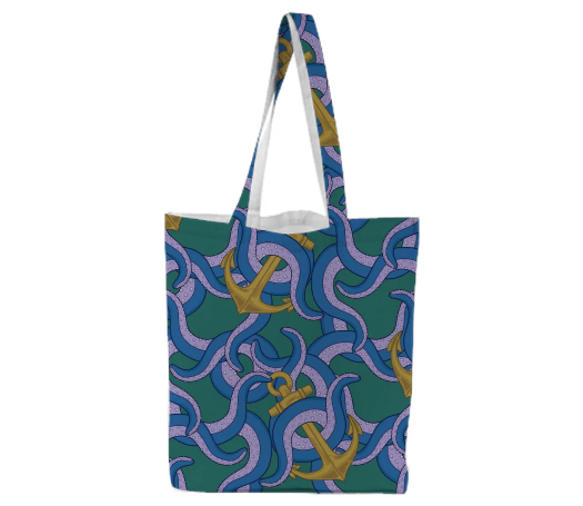 Paul S OConnor Sea Life Textile Pattern Tote Bag