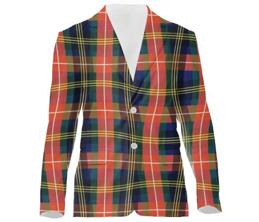 Paul S OConnor Bad Plaid Textile Print Suit Coat Pattern