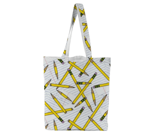 Paul S OConnor Pencil and Paper Textile Print Pattern Tote Bag