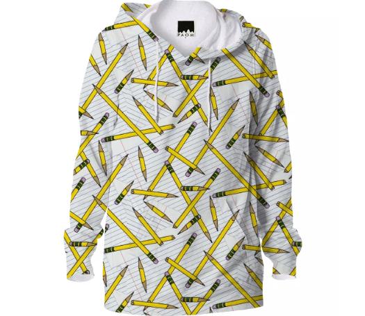 Paul S OConnor Pencil and Paper Textile Print Pattern Hoodie Sweatshirt