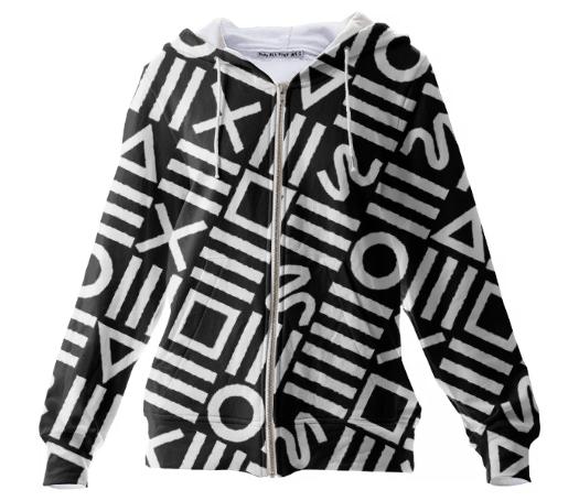 Paul S OConnor Rough Geometry Textile Pattern Print Hoodie Sweatshirt