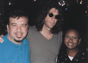 On the TV set of the Howard Stern show with Robin