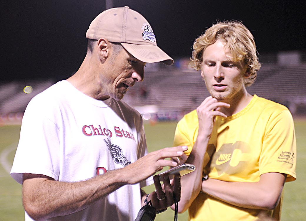 Chico State Distance Coach Gary Towne with Scott Bauhs