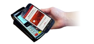 An NFC phone making a contactless payment at POS