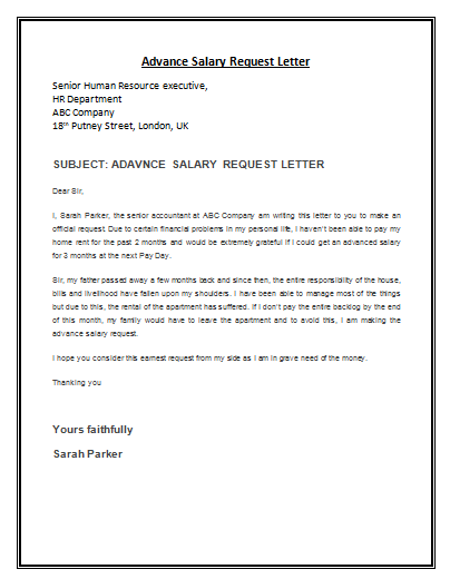 Advance Salary Request Letter