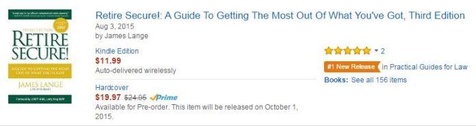 Amazon Kindle Pre-Order Retire Secure! James Lange