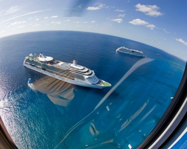 Royal Caribbean Cruise ship 'Jewel of the Seas' seen from the Cayman Islands helicopter tour.