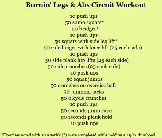 Burnin' Legs and Abs Circuit
