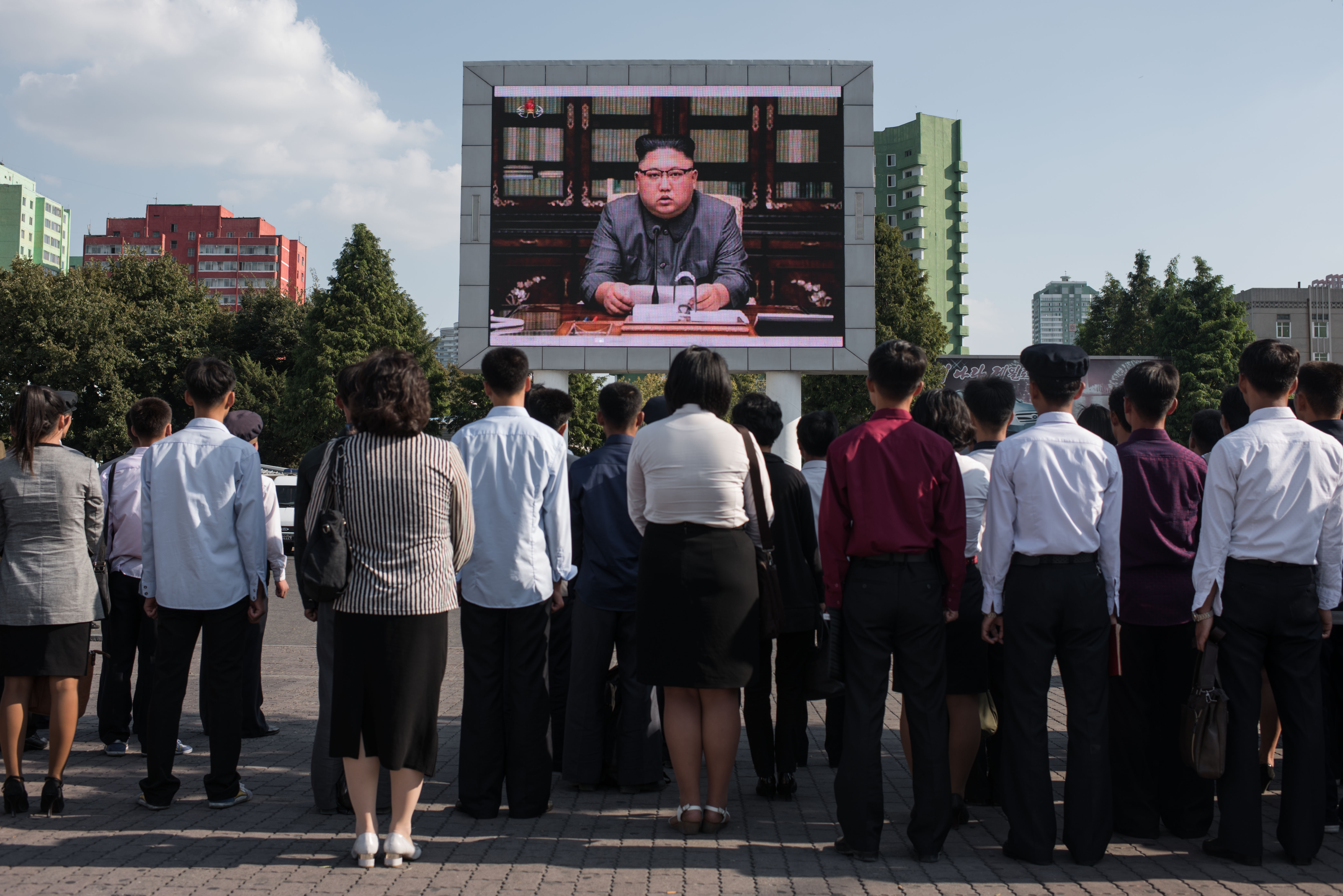 """North Korean leader Kim Jong-un warned U.S. President Donald Trump that he would """"pay dearly"""" for his threat to destroy North Korea in a televised statement in Pyongyang on September 22, 2017."""
