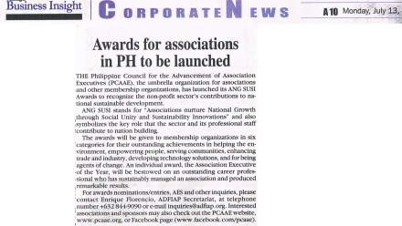 Awards for associations in PH to be launched