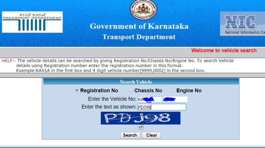 How to Track Bangalore vehicle Registration Number, Owner, Chase Number, Engine No