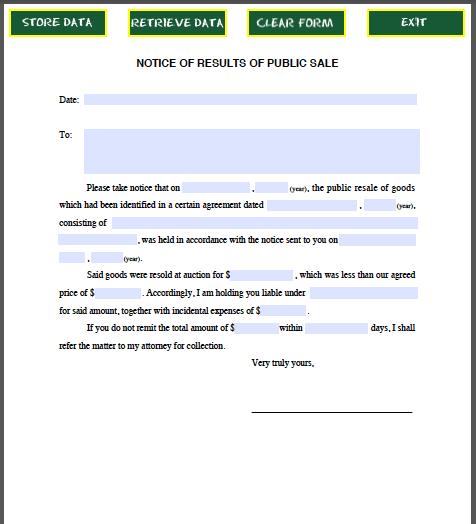 Notice Results Public Sale