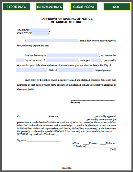 Affidavit form for mailing of notice of annual meeting free fillable