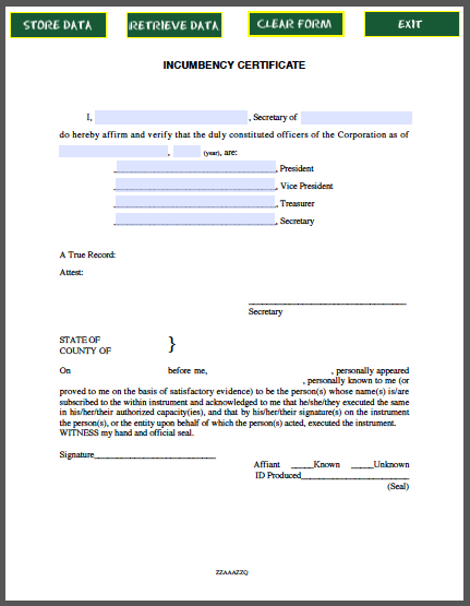 Incumbency certificate template free fillable pdf forms for Incumbency certificate form