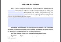 Quitclaim Bill of Sale Form