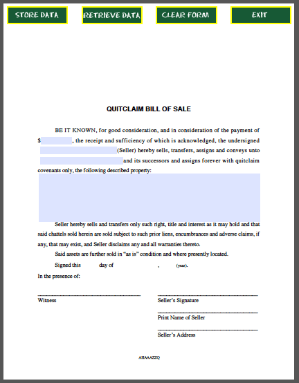 Quitclaim Bill of Sale Form