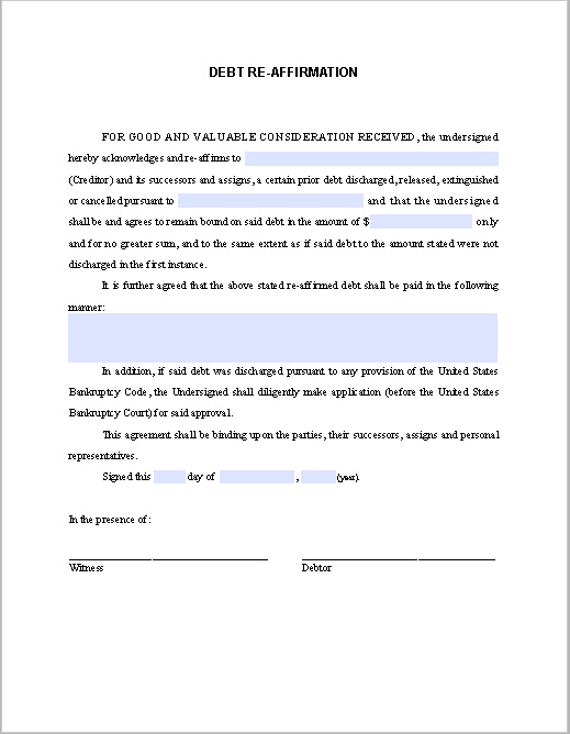 debt re affirmation agreement sample