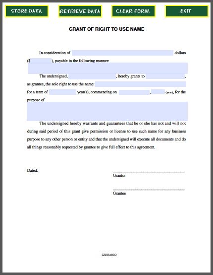 Grant Of Right To Use Name Contract Free Fillable Pdf Forms
