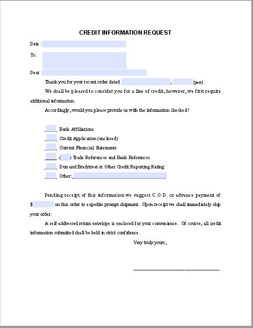 Credit Information Request Letter