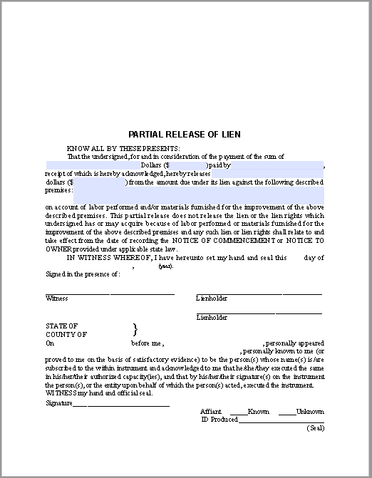 Partial Release of Lien Certificate Template | Free Fillable PDF Forms