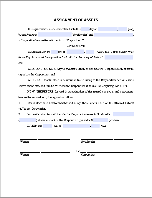 Form for Assignment of Assets Agreement