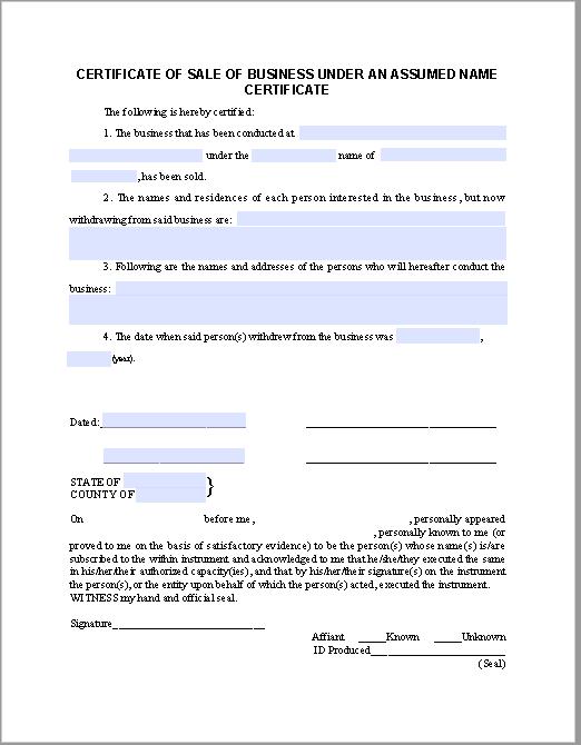 business sale certificate template