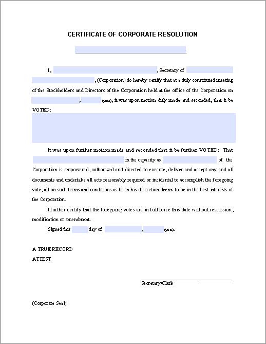 Any Corporate Financial Resources Organization Can Download This Blank  Corporate Resolution Form Template For Granting Permission By The Board Of  Directors ...