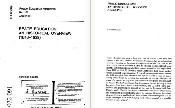 Peace Education: An Historical Overview (1843-1939). Peace Education Miniprints No. 101