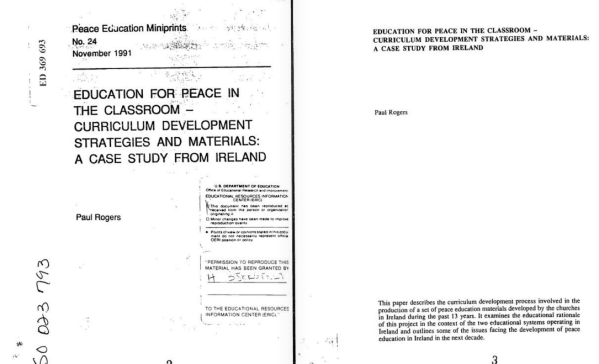 Education for Peace in the Classroom - Curriculum Development Strategies and Materials: A Case Study from Ireland