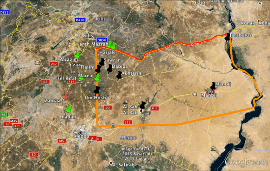 The red line is the Turkey-Syrian border and the orange line is the possible extent of the zone, if it goes to Marea.