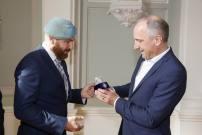Besuch der Vereinigung Österreichischer Peacekeeper (VPÖ) bei Regierungschef Adrian Hasler in Vaduz, Liechtenstein. Von links: Foto: Paul J. Trummer