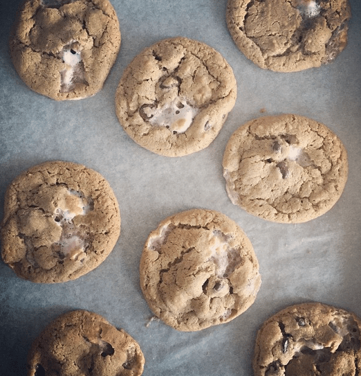 Hazelnut and marshmallow chocolate chip cookies