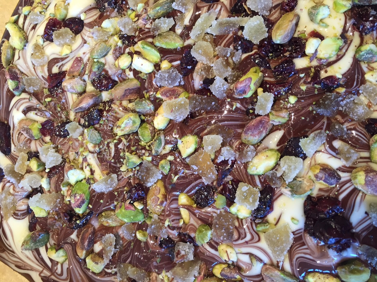 Pistachio, ginger, and cranberry chocolate bark