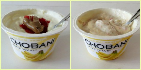 Chobani Yogurt with Strawberry Jam and Peanut Butter