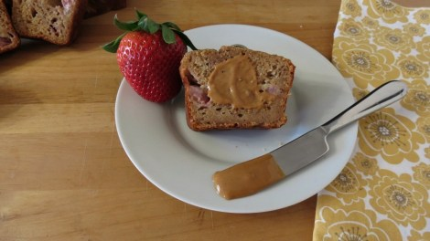 peanut butter, banana and strawberry bread
