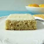 Meyer Lemon Snack Cake with Lemon Cream Cheese Frosting #SundaySupper