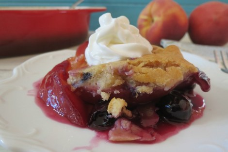 Lightened Up Peach and Blueberry Cobbler