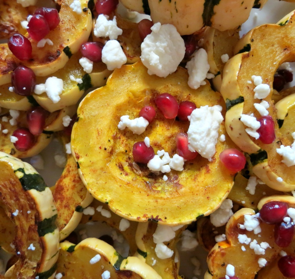 Baked Delicata Squash with Pomegranate and Goat Cheese | Peanut Butter ...