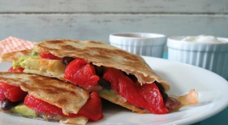 Black Bean and Roasted Red Pepper Quesadilla