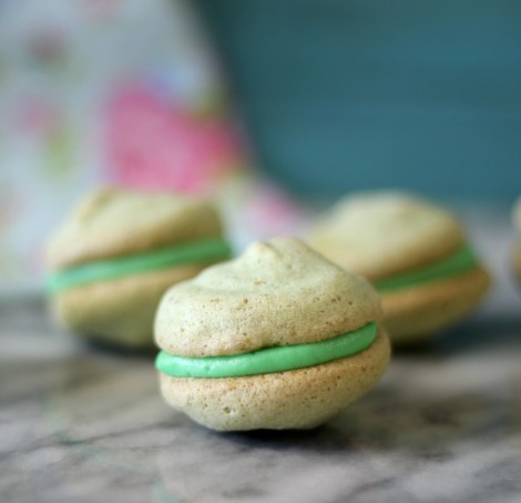 Pistachio Macarons with Cherry Buttercream Filling