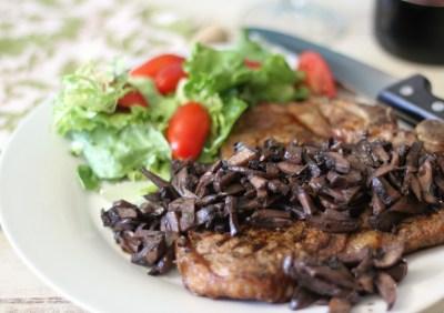 Pinot Noir Mushroom Reduction Sauce with T-Bone Steak