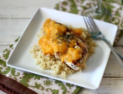 Peach Mango Grilled Chicken over Quinoa #SundaySupper