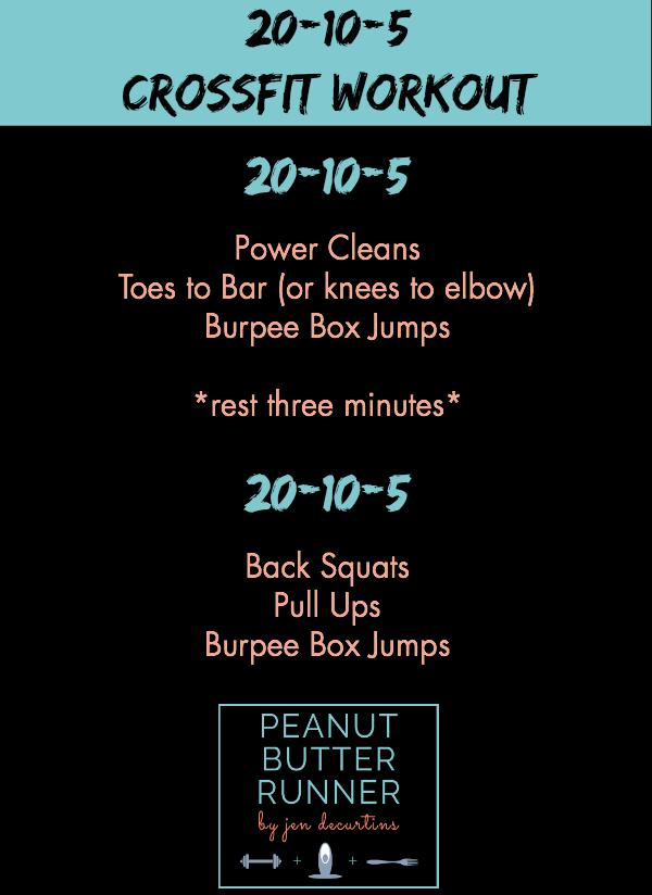 Peanut Butter Runner 20-10-5 CrossFit Workout