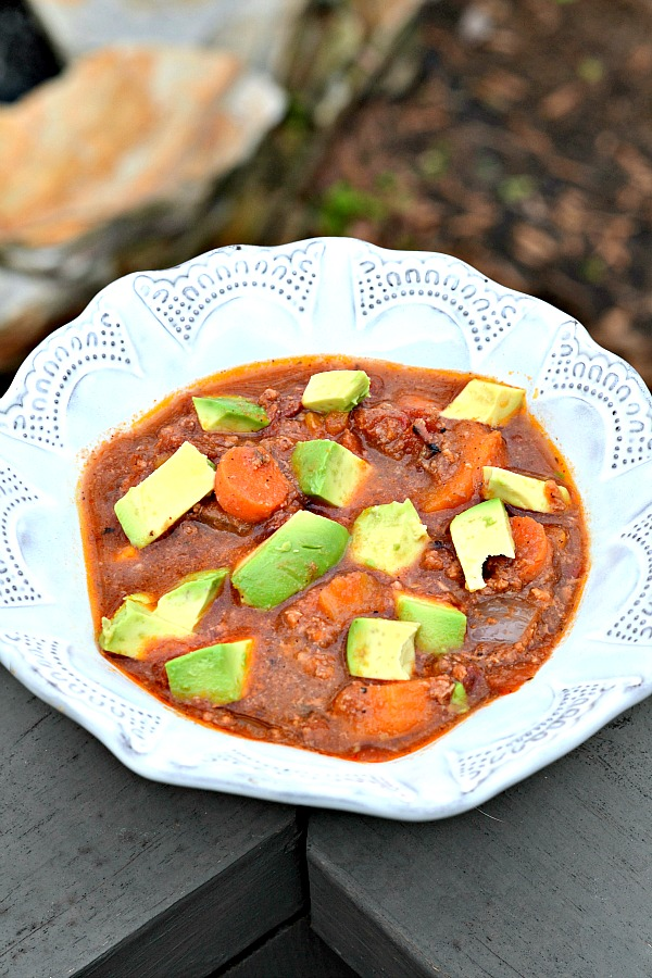 If you're looking for a set it and forget it recipe for a delicious beanless chili, this is the recipe for you! This chili is packed with hunks of sweet potato and carrot along with ground lamb or beef and lots of warm, comforting spices. It's Paleo and Whole30 friendly and guaranteed you won't miss the beans!