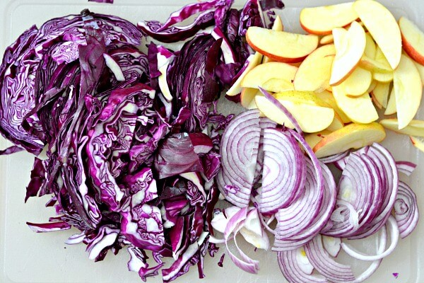 Braised red cabbage recipe prep.